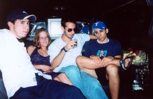 Tristan with Cassie, Adam, and Mark, May 2003
