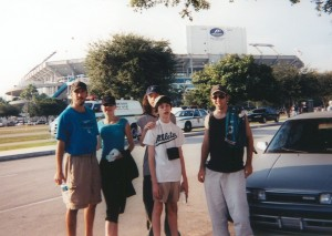 Zachary, Kaleena, Rory, Schuyler, and Tristan outside Pro Player Stadium, October 23, 2003